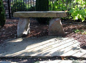 Stone bench to match flagstone pavers.