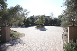Motor courtyard that previously featured a fountain. Due to the previous contractors lack of foresight no plumbing or electrical conduit was installed to facilitate the operation of the fountain. A olive tree was a trouble free alternative.