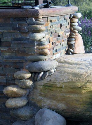 Stone detail on a BBQ island.