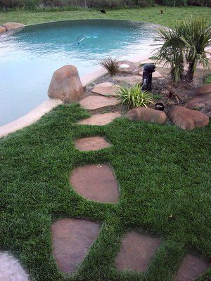 Transitioning  flagstones provide access to the fiber optic light generator that was used to provide lighting in the pool.