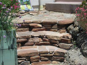 Mortared riverwashed Sedona stone used as steppers and steps.
