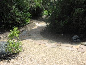 Serpentine flagstone path leads from crush pad to tasting room of a family owned winery.
