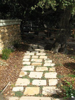 The material used here was a tumbled limestone that was used for the back patio. There was just enough left to construct this walkway with thyme planted joints.