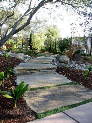 Flagstone walkway provides access through the garden as well as permeability.