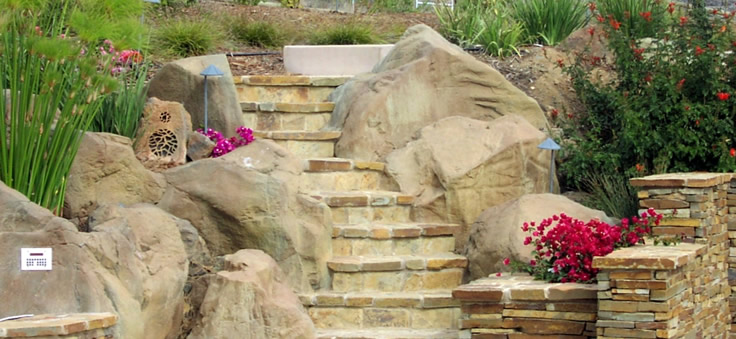 Custom steps and flagstone walls...